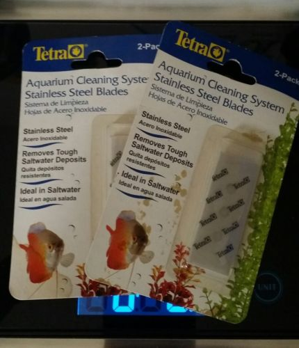 Aquarium Cleaning System Stainless Steel Blades 2 packs total 4 blades