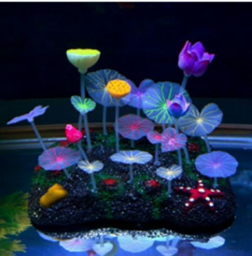 Aquatic Plant Aquarium Ornament Decoration Set Glowing Effect New