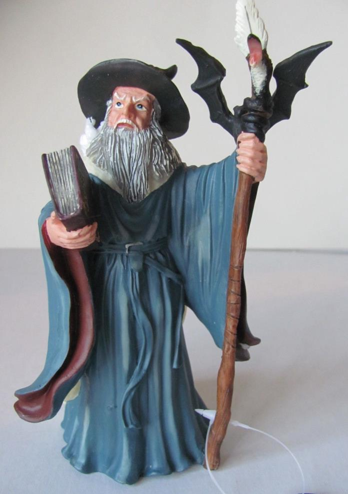 Wizard Figurine Holding Book and Staff - Great for Aquarium  - resin