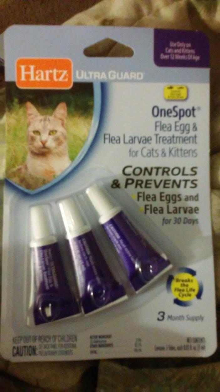 2PK DEAL! HARTZ UltraGuard One Spot Flea Egg Treatment 4 Cats& Kittens - 3 Tubes
