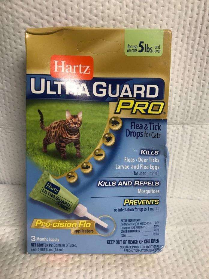 HARTZ ULTRA GUARD PRO CATS 5 LBS AND UP FLEA TICK DROPS WITH 3 MONTH SUPPLY