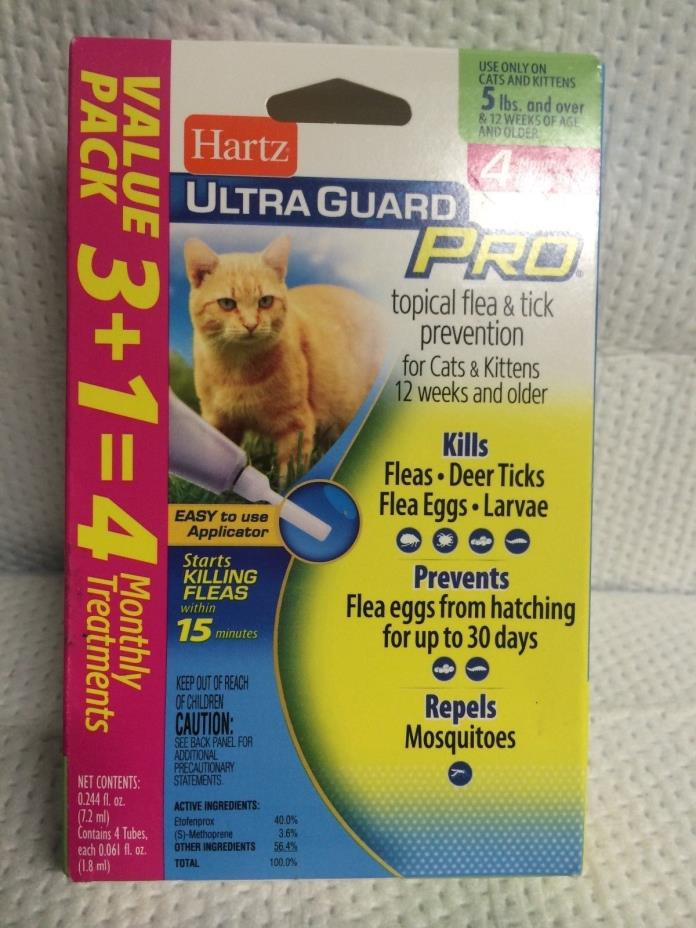 HARTZ ULTRA GURAD PRO CATS KITTENS 5 LBS OR MORE 12 PLUS WEEKS 4 MONTH TREATMENT