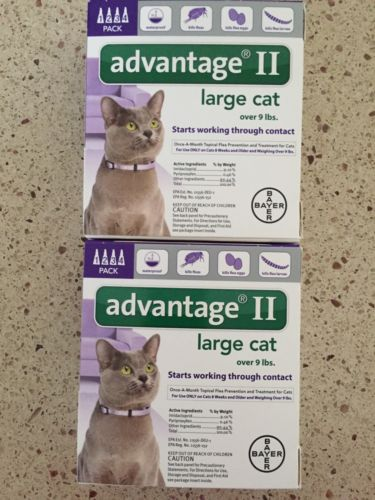 ADVANTAGE II FOR LARGE CATS 8PACK OVER 9 LBS NEWEST SEALED BOX EPA APPROVED USA