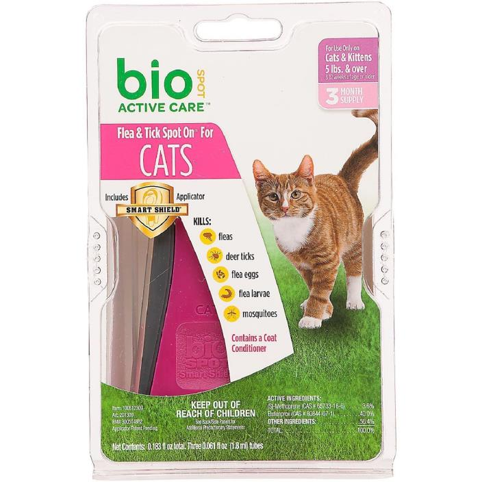 BioSpot Active Care Spot On with Applicator for Cats over 5 lbs, 3 Month Supply