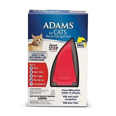 ADAMS FLEA & TICK SPOT ON 3 MONTH SUPPLY 2.5 to 5 POUND CATS 12 WEEKS & OLDER