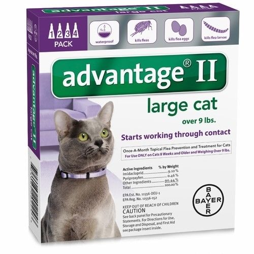 NEW Advantage II Flea Control Large Cat 4 Pack (for cats over 9 lbs) PURPLE