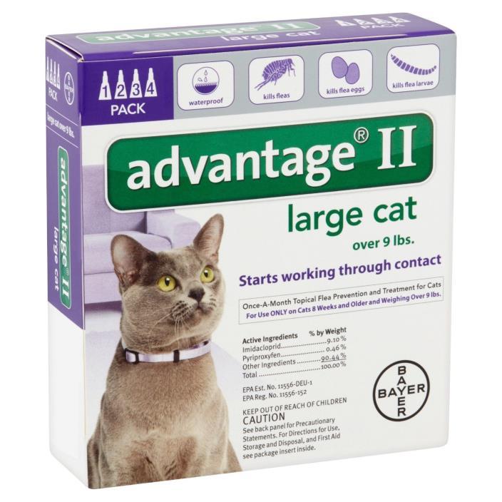 Bayer Advantage II Flea & Tick Treatment for Large Cats, 4 pack **NIB**