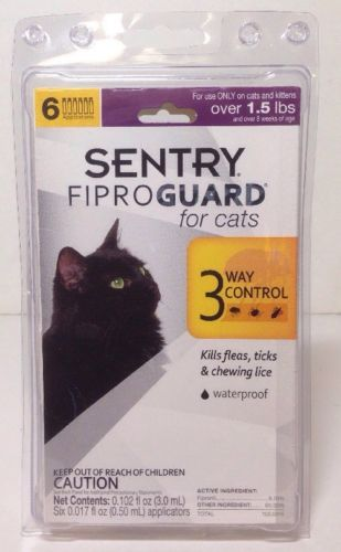 Brand New Sentry Fiproguard for Cats Over 1.5 Lbs (6 Count) - Ships Free!