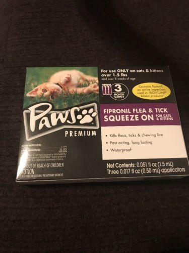 Paws Premium For Cats 3 Month Supply Flea & Tick Remedy