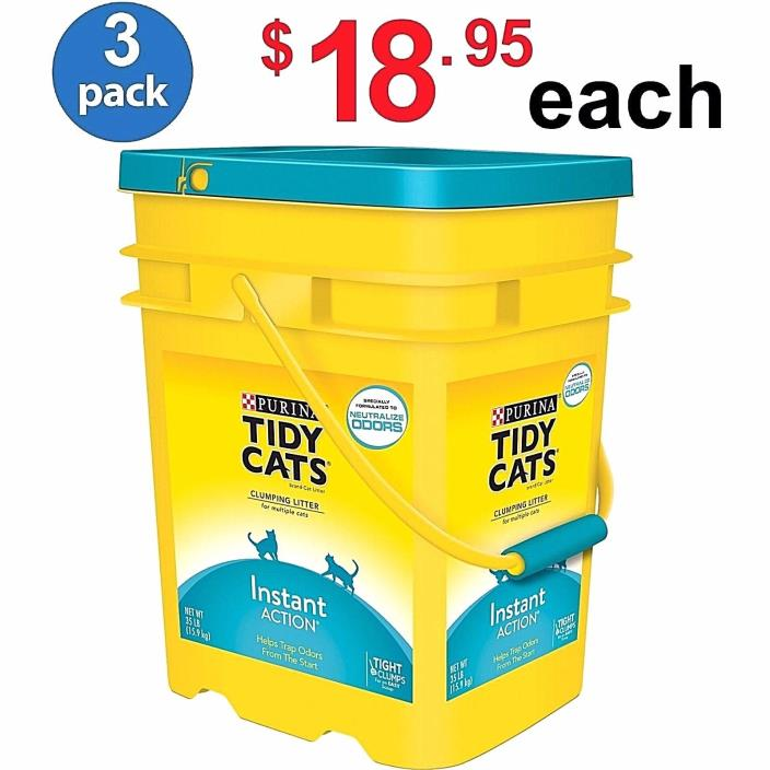Purina Tidy 35 Lb Cat Clumping Litter Instant Action Multiple Cats - (PACK of 3)