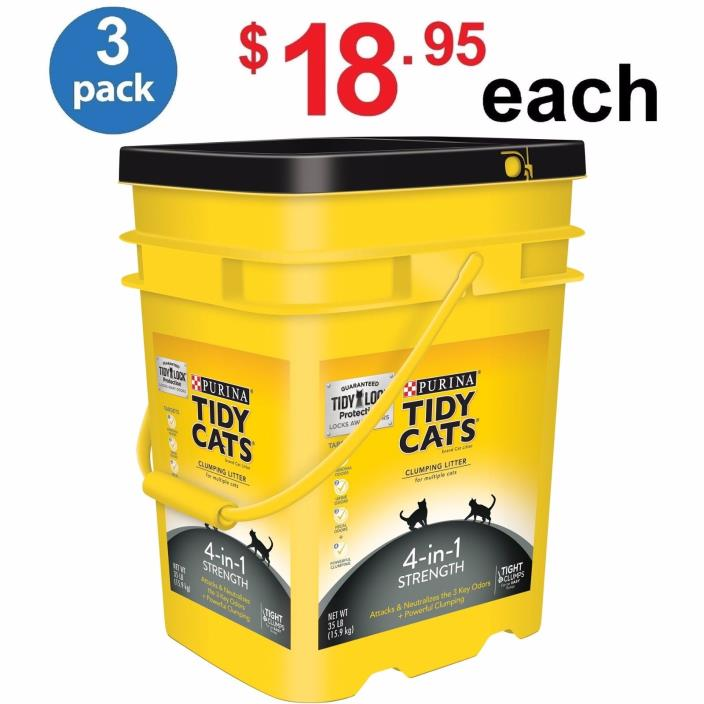 Purina Tidy Cats 35 Lb Clumping Litter 4-in-1 Strength for Multiple Cats 3 PACK