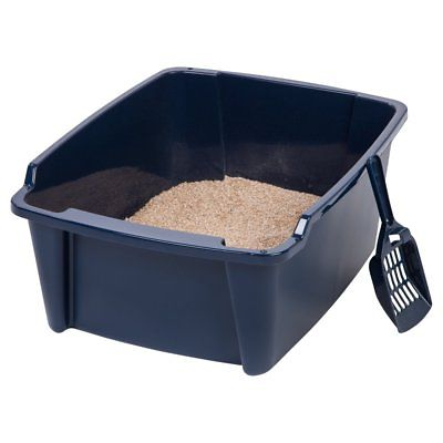 IRIS Large Open Litter Pan, Navy, Tall with Scoop