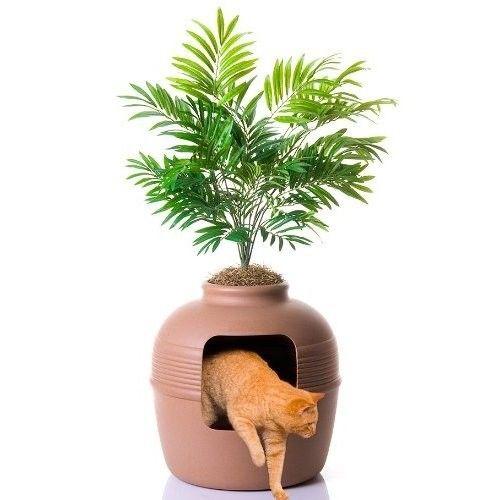 Cat Litter Box Hidden Enclosure Decorative Covered Design Filtered Vented System