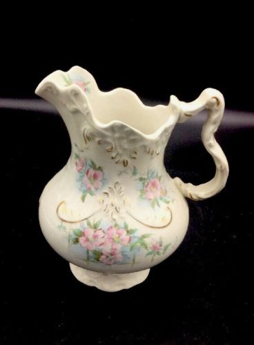 Antique Wash Pitcher with Flowers & Gold Accents Sebring