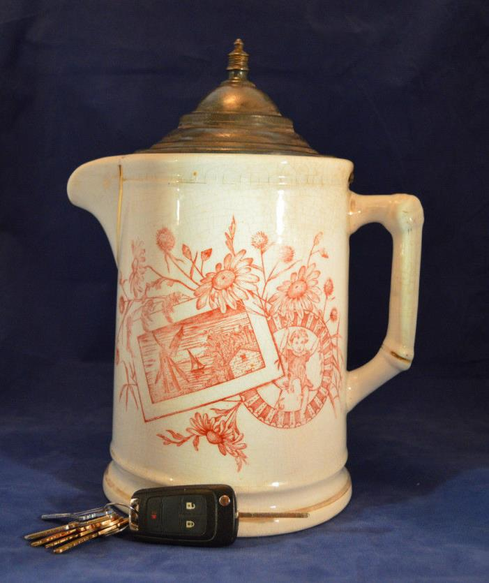 Vintage Ironstone Chocolate Coffee Pot with Pewter Lid - Transfer Decorated 1889