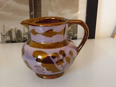 #714 vtg pottery colored Copper Luster pitcher 3'' t  Old Castle made England