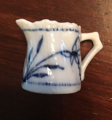 Vintage Miniature Doll House Blue & White Porcelain Ceramic Pitcher 1.25