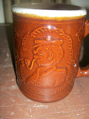 ANTIQUE BROWN IRONSTONE MUG ~ BURLEY HEART WINTER ~ CROOKSVILLE OH