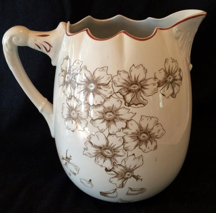 Vintage Brown Transferware Large Pitcher with Brown Flowers by Lotta.