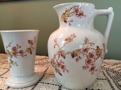 Antique Vanity Water Pitcher & Cup, Ironstone, Ott & Brewer 19th Century