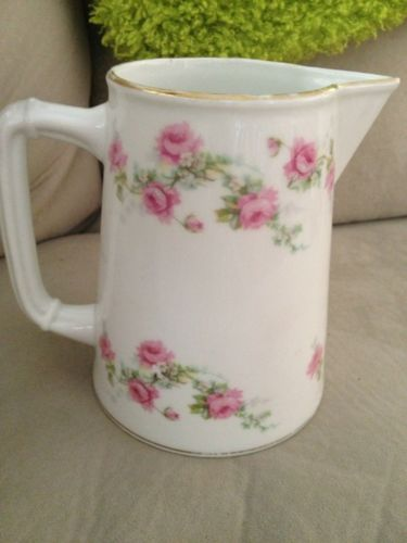 LEWIS & CONGER NY ANTIQUE Limoges France Pitcher Rose Pattern LATE 1800's MARTIN