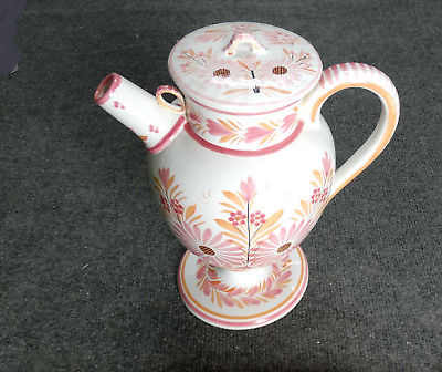 HB QUIMPER FRANCE FAIENCE POTTERY,TALL CIDER PITCHER PINK CAMAIEU, RARE,  MINT