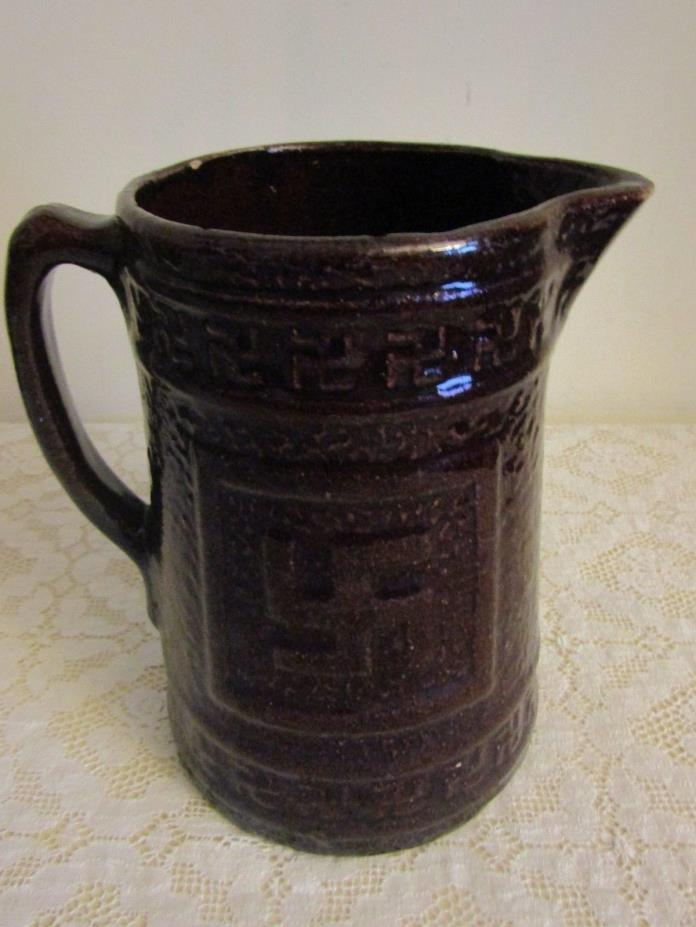 Antique Brown Glazed Pottery Pitcher Whirling Log Swastika