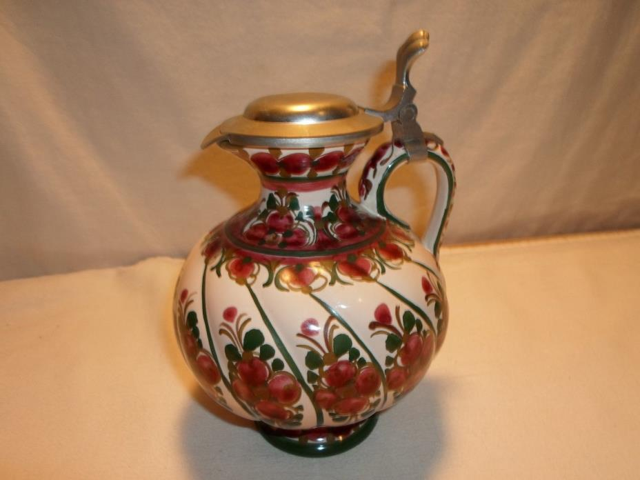 Vintage ASN Pottery Pitcher with Pewter Lid Collectible