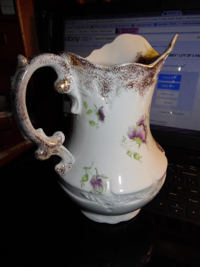 Antique Warwick China Pitcher w/Gold Spray Trim in VG Condition 7.5