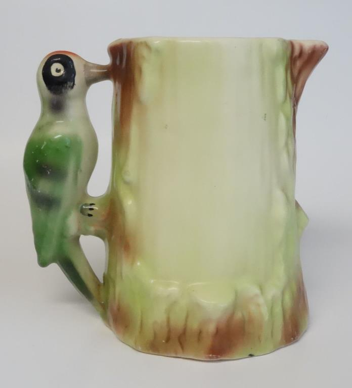 VINTAGE CZECHOSLOVAKIAN WOODPECKER BIRD POTTERY PITCHER JUG CZECH OLD ANTIQUE