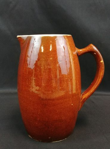 Primitive Stoneware Farmhouse Pitcher 8-1/2