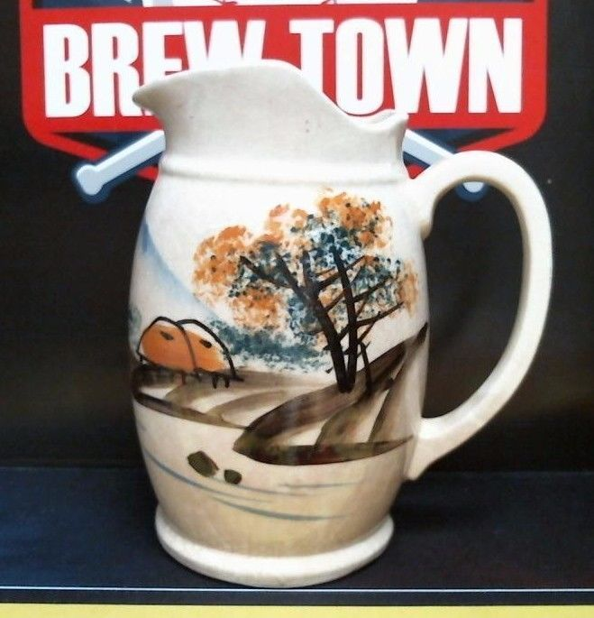 Vintage Ceramic Pitcher W/ Painted Country Scene Hills & Trees 7