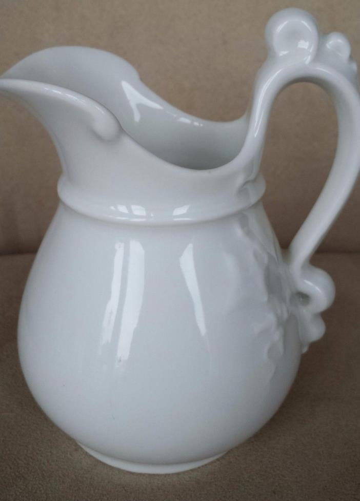 Vintage H & C Water Or Milk Pitcher White Ceramic 6
