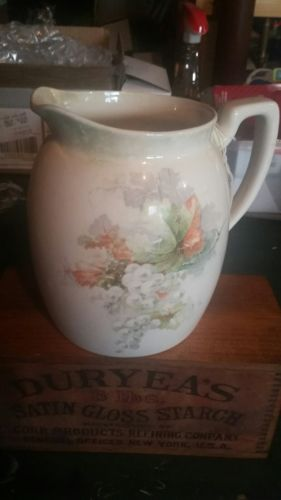 Large Antique Floral Pitcher