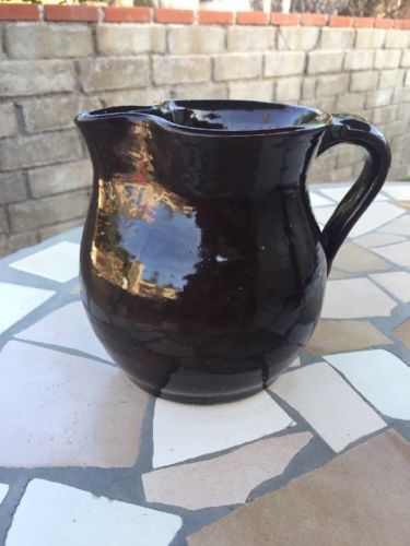 Vintage Brown Glaze Stoneware Pitcher 6inches Tall - Earthenware. Beautiful!