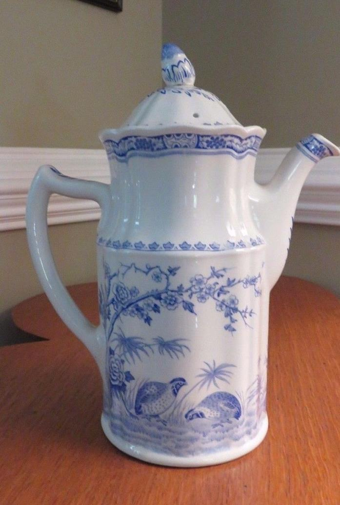 Furnivals Blue & White Transfer Quail Pattern Coffee Pot & Cover Made in England