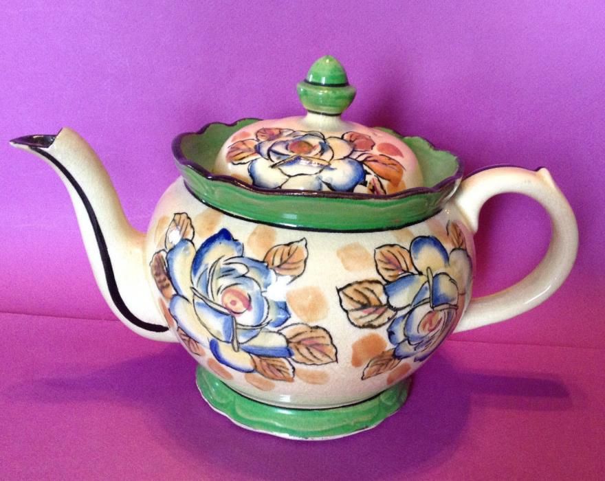 Large Vintage Teapot Circa 1921-1942 - Hand Painted Green And Blue - Japan