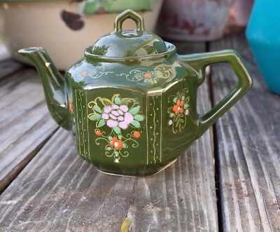 vintage green ceramic teapot made in Japan moriage floral design personal teapot