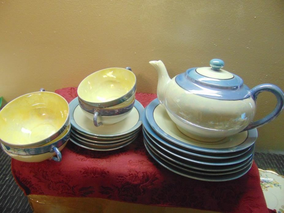 Vintage Tea Set - Japan Lusterware - Blue & Ivory Luster Finish - Delicate!