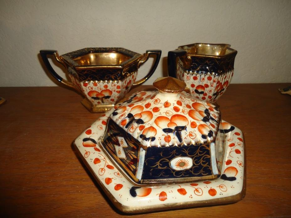 ANTIQUE  IMARI WELSH GAUDY FLORAL & GOLD GILT butter dish and sugar and creamer