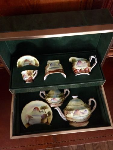 Antique Staffordshire Miniature Tes Set In Green Leather Presentation Box Teapot