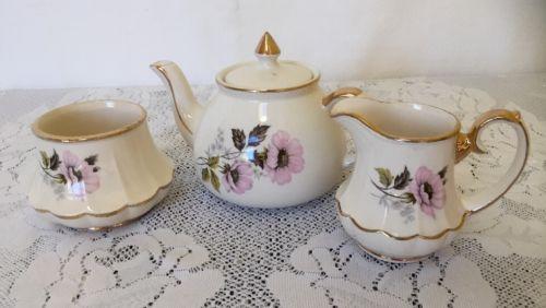 Gibsons Vintage Teapot Creamer Sugar Staffordshire England Pink Floral