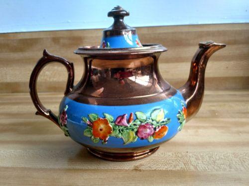 Antique English Copper Lustreware Lusterware Tea Pot  Porcelain