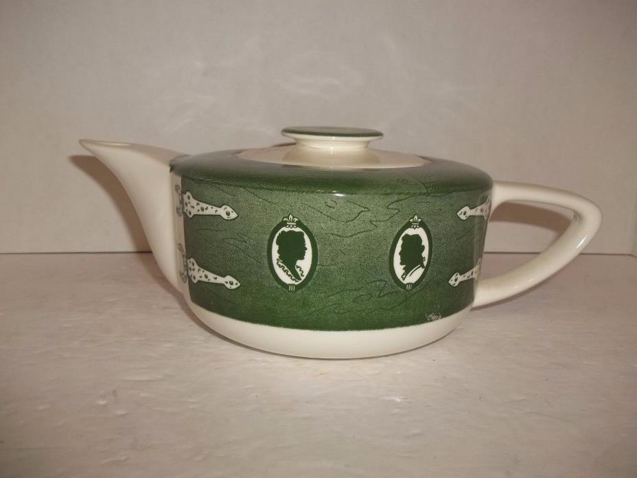 Vintage Royal Green Colonial Homestead Cameo Victorian Pattern Tea Pot
