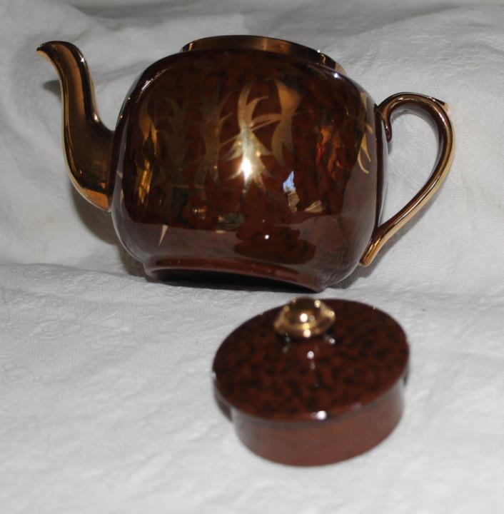 Gibson Tortoise Glaze TEAPOT Gold Leaf Design Vintage Teapot Brown Pottery