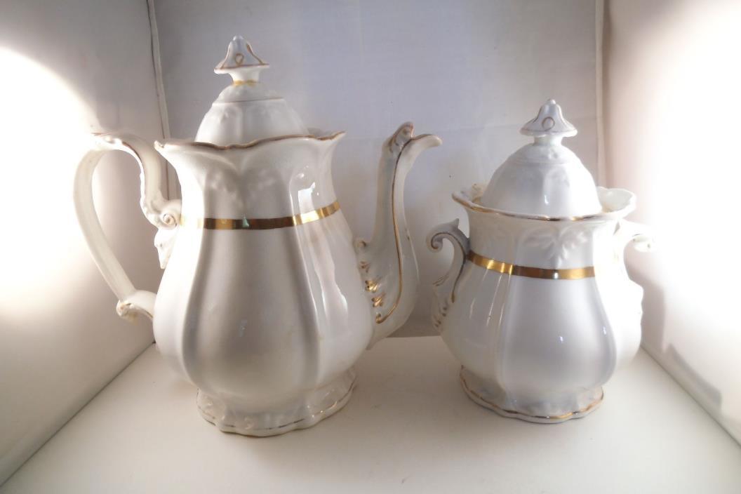 Antique Gold Rim Unmarked Teapot & Sugar Bowl