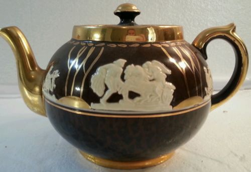 Vintage Gibsons Staffordshire England teapot jasperware white brown gold  006