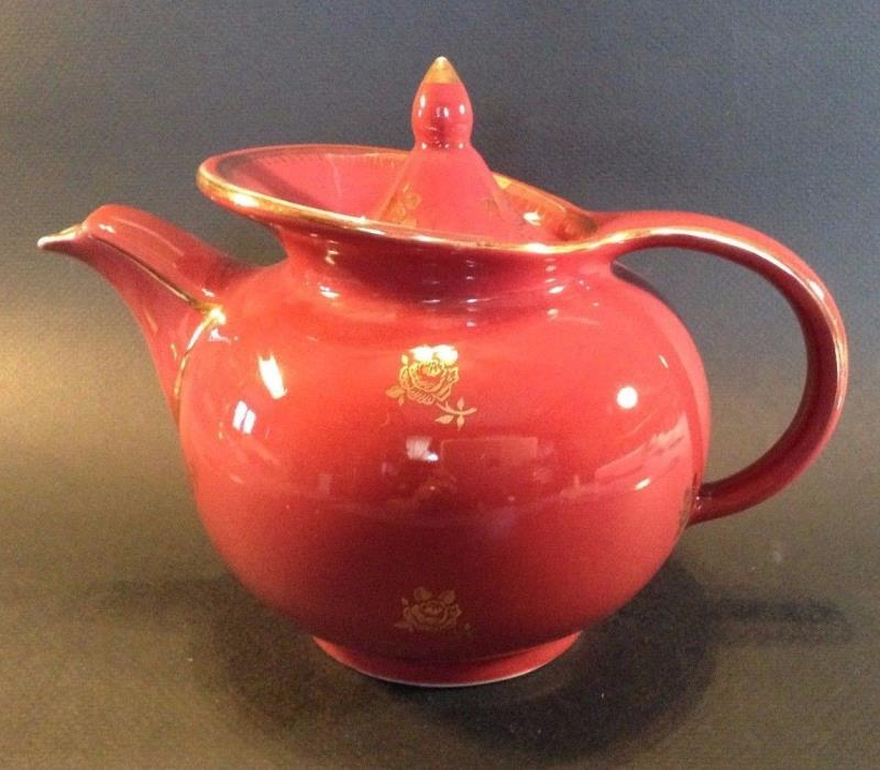Hall Teapot - Mauve Red With Gold Roses - 6 Cups - Made In USA