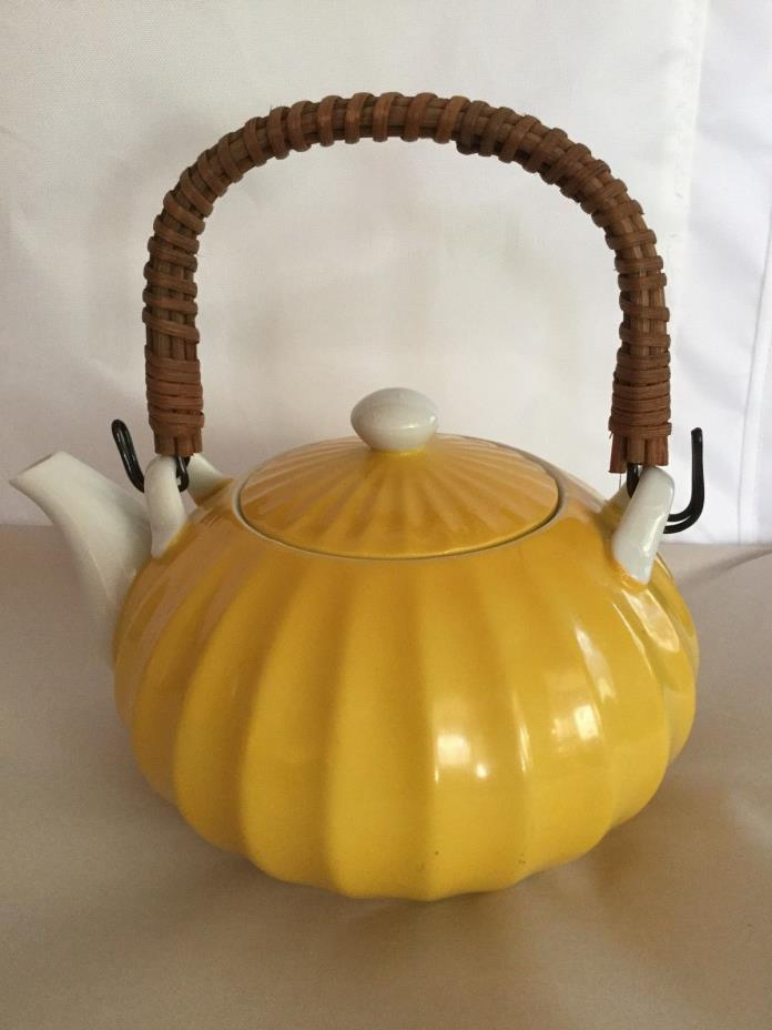 Antique Asa Japan Tea pot Yellow  Porcelain ceramic hand paint 6
