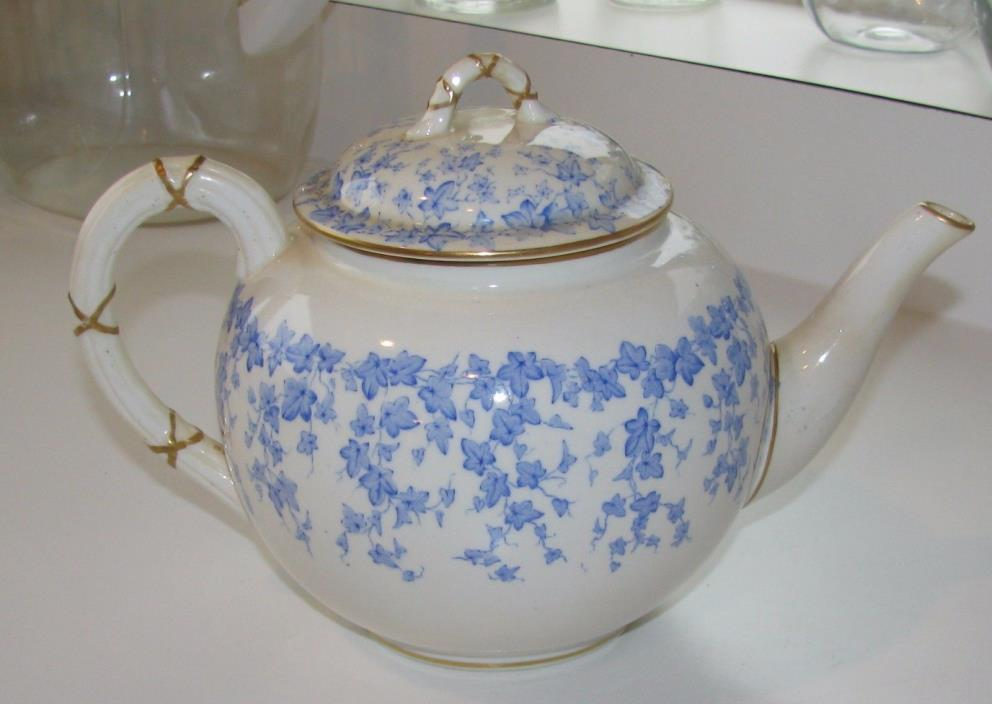 Lovely 1881 Royal Worcester Tea Pot Antique, Great Cond. Blue leaves-Gold trim